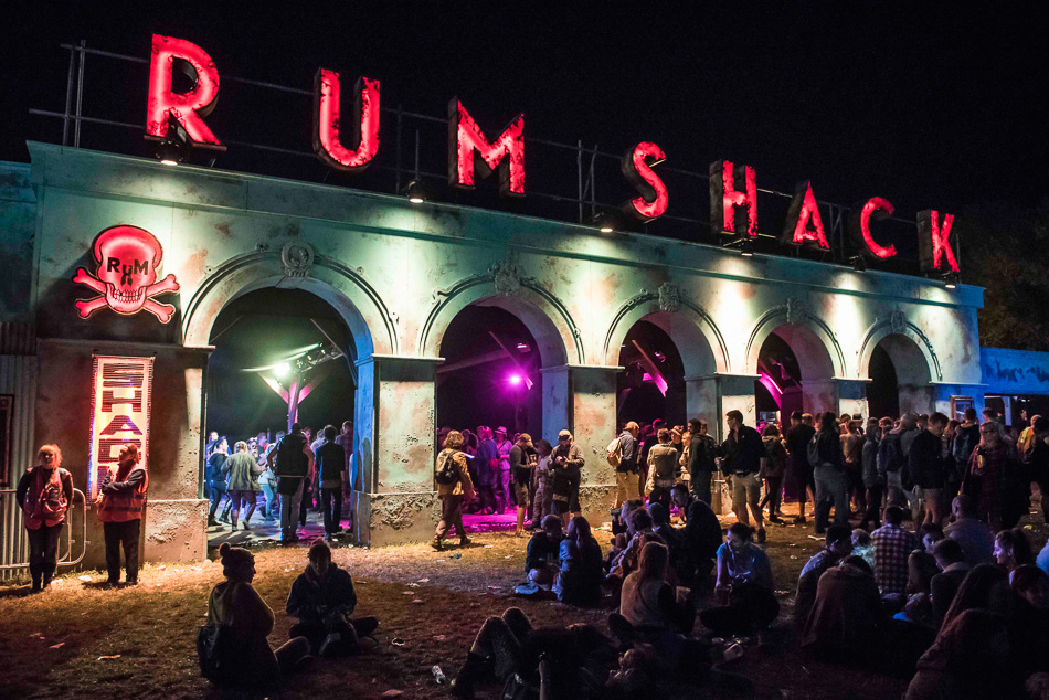 General view of the Rum shack in The Common area at Glastonbury festival, Worthy Farm, Somerset.